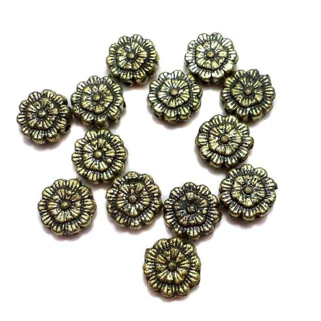 200 Gm Acrylic Flower Beads Golden Finish 9