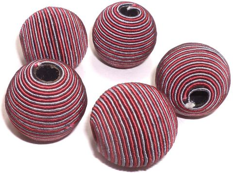 10 Crochet Round Beads Dark Red 26 mm