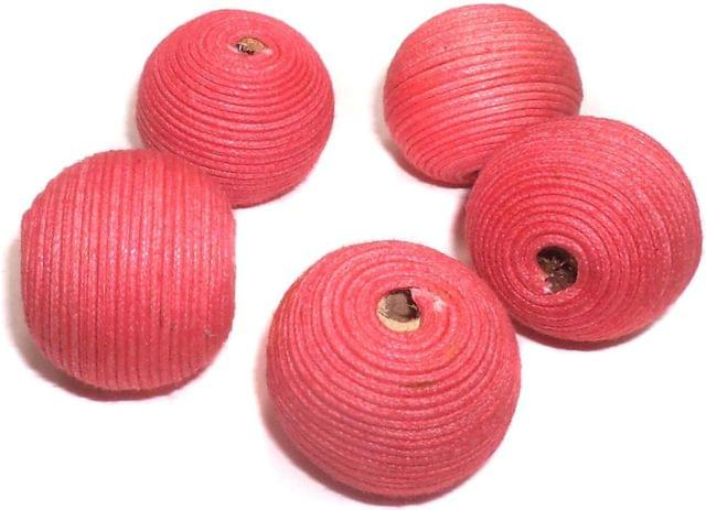 10 Crochet Round Beads Light Coral 22 mm