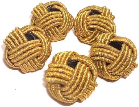 10 Crochet Round Beads Golden 22 mm