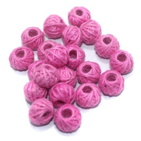 100 Pcs. Cotton Thread Round Beads Pink 12x8 mm