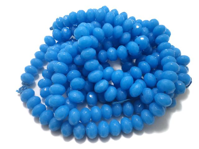 1 Strings Faceted Glass Rondelle Beads Sky Blue 12x8 mm