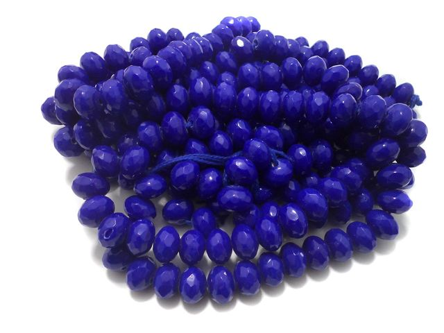 1 Strings Faceted Glass Rondelle Beads Blue 12x8 mm