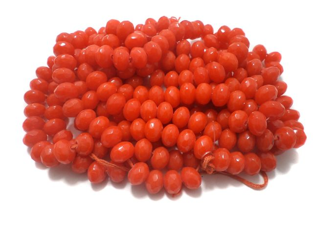 1 Strings Faceted Glass Rondelle Beads Orange 12x8 mm