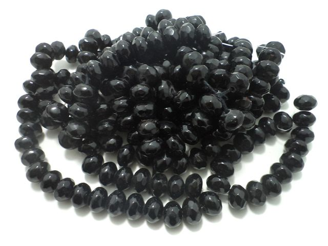 1 Strings Faceted Glass Rondelle Beads Black 12x8 mm