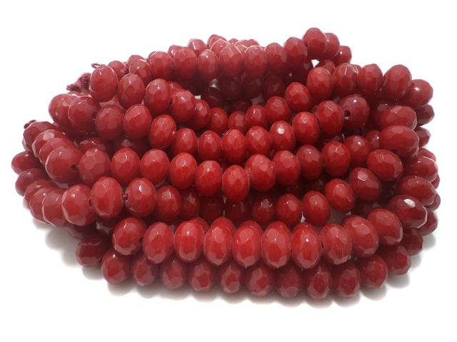 1 Strings Faceted Glass Rondelle Beads Red 12x8 mm