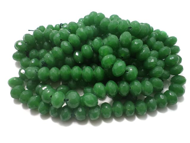 1 Strings Faceted Glass Rondelle Beads Green 12x8 mm