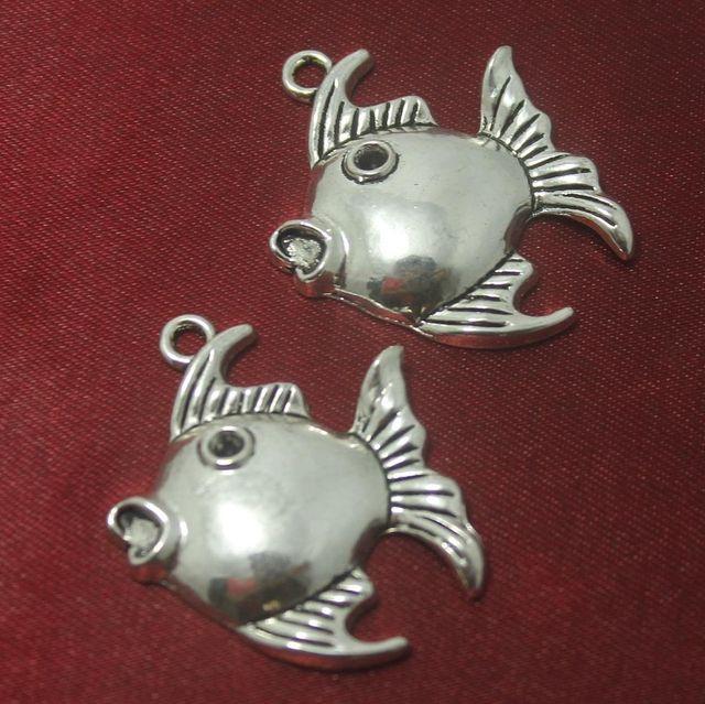 10 Pcs. German Silver Fish Pendants 34x30 mm