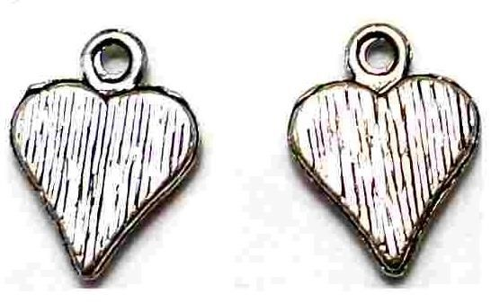20 German Silver Heart Charms 14mm
