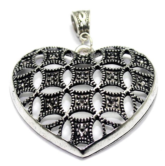 2 German Silver Heart Pendant 2x1 Inch
