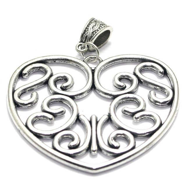 2 German Silver Heart Pendant 2 Inch