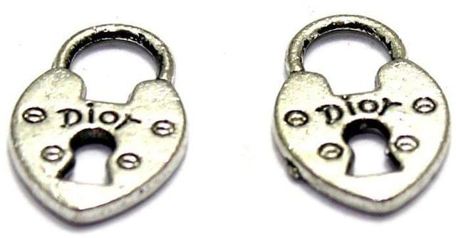 40 German Silver Lock Pendant Charms 19X12mm