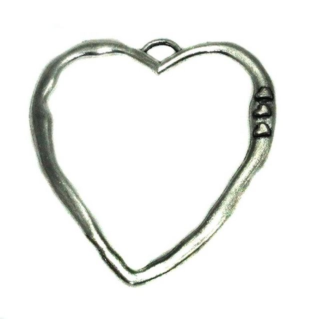 5 German Silver Heart Frame pendant 50x45mm