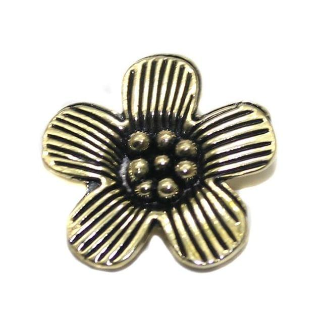 4 German Silver Flower Pendant Silver 22mm