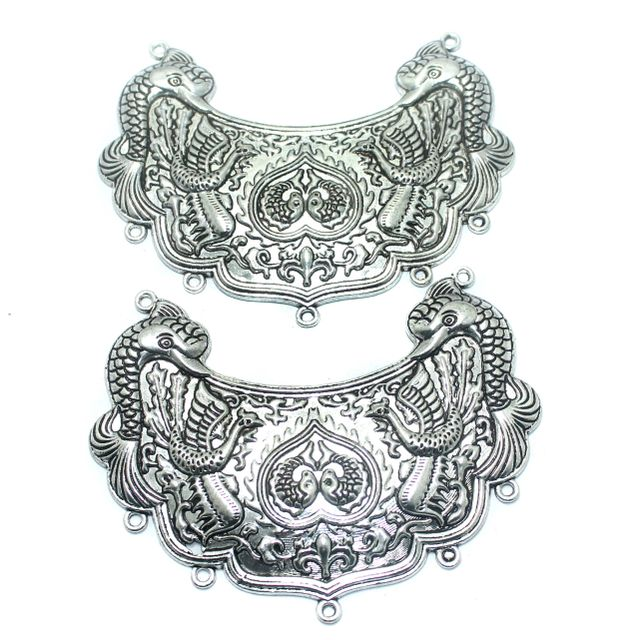 2 Pcs. German Silver Pendant, Size-98x50mm