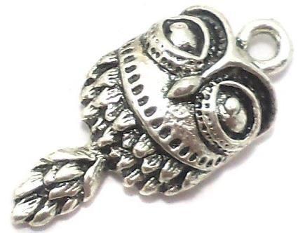 10 Pcs. German Silver Owl Charms 25x12mm