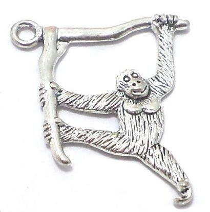 4 Pcs. German Silver Monkey Pendants 32x20mm