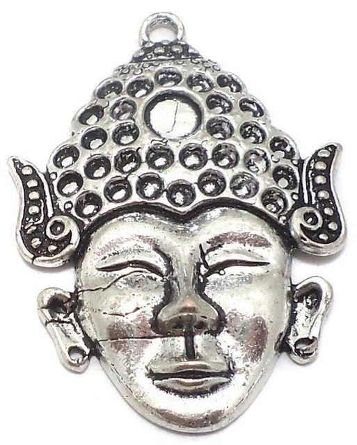 2 Pcs. German Silver Buddha Pendants 48x35mm