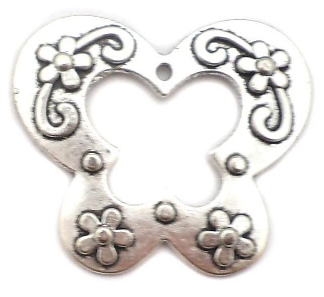 4 Pcs. German Silver Butterfly Pendants 50x43mm