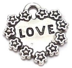 20 Pcs. German Silver Heart Charms 16mm