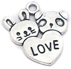 20 Pcs. German Silver Heart Charms 20x18mm