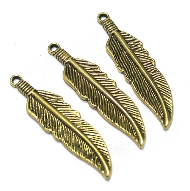 25 Pcs. German Silver Golden Leaf Pendants 34x30 mm