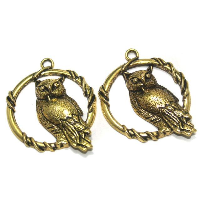 12 Pcs. German Silver Golden Owl Pendants 47x37 mm
