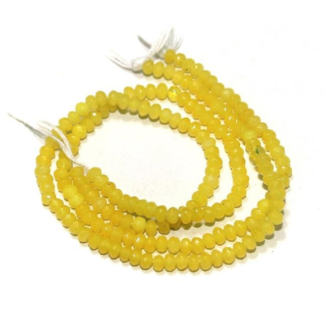90+ Crystal Faceted Roundell Beads Yellow 3 mm