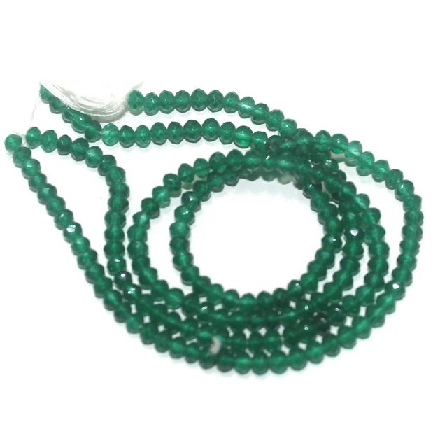 90+ Crystal Faceted Roundell Beads Green 3 mm