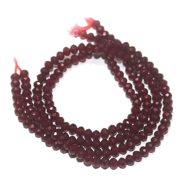 90+ Crystal Faceted Roundell Beads Maroon 3 mm