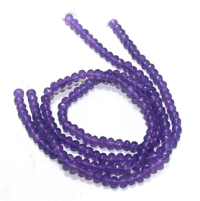 90+ Crystal Faceted Roundell Beads Purple 3 mm