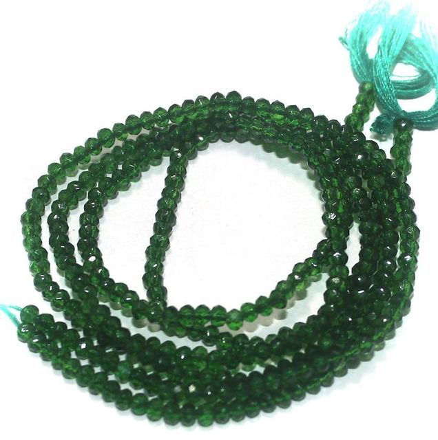155+ Crystal Faceted Roundell Beads Green 2 mm