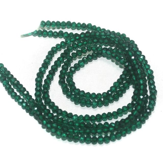 155+ Crystal Faceted Roundell Beads Dark Green 2 mm