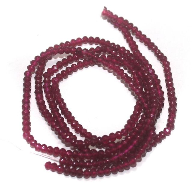 155+ Crystal Faceted Roundell Beads Hot Pink 2 mm