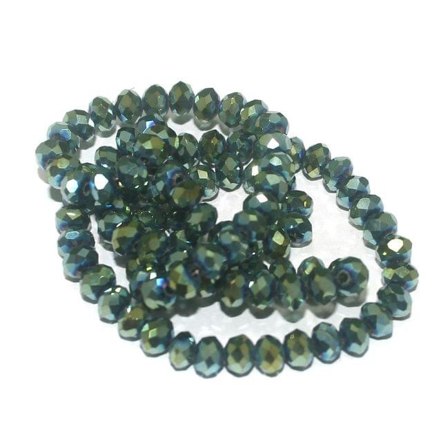 95+ Crystal Faceted Roundell Beads Rainbow Green 6x4 mm