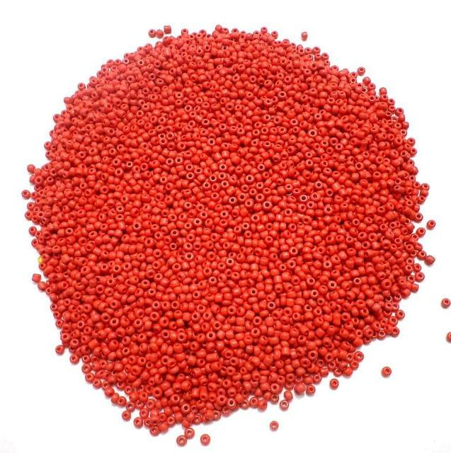 100 Gm Seed Beads Red Opaque 11/0 Size