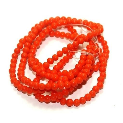 5 strings Glass Round Beads Orange 4mm