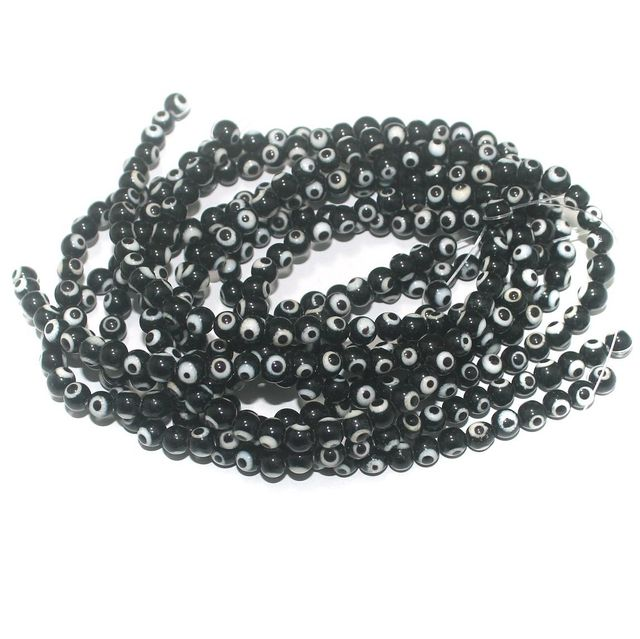 5 Strings Glass Evil Eye Round Beads Black 6 mm