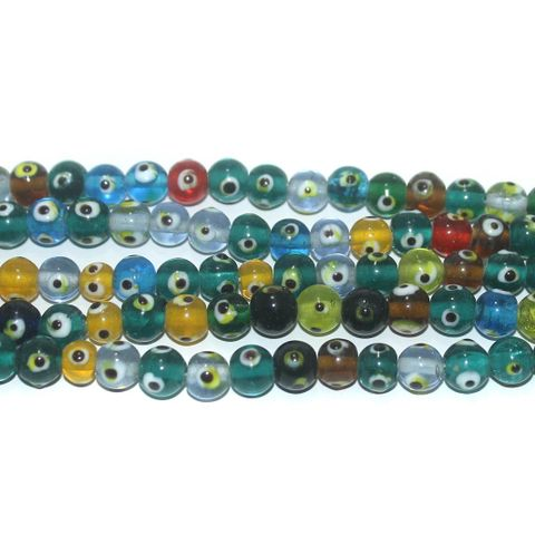 5 Strings Glass Evil Eye Round Beads Multicolor 8 mm