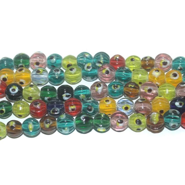 5 Strings Glass Evil Eye Kharbooja Beads Multicolor 8 mm