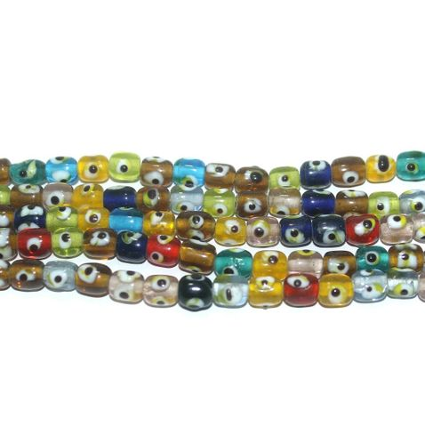 5 Strings Glass Evil Eye Tyre Beads Multicolor 8x7 mm