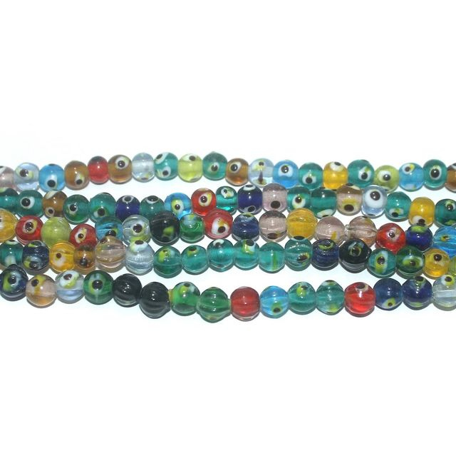 5 Strings Glass Evil Eye Round Beads Multicolor 6 mm
