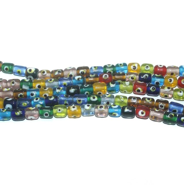5 Strings Glass Evil Eye Tyre Beads Multicolor 6x6 mm