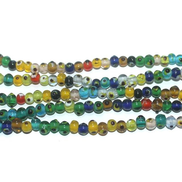 5 Strings Glass Evil Eye Round Beads Multicolor 5 mm