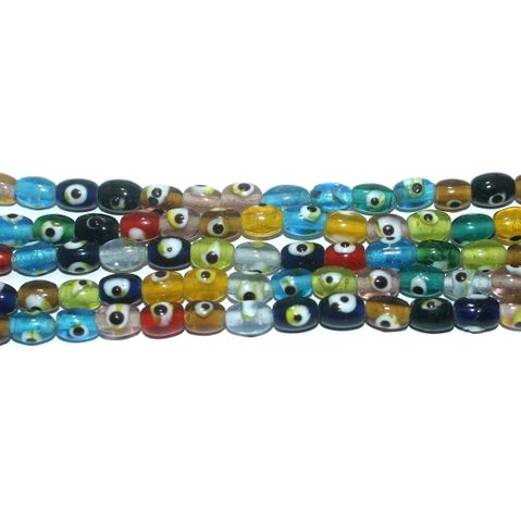 5 Strings Glass Evil Eye Oval Beads Multicolor 8x6 mm