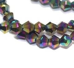 Crystal Faceted Bicone Metallic Beads, size 4mm , Pack of 100 pcs