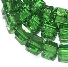65+ Crystal Faceted Cube Beads Trans Green 6mm