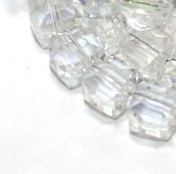 50+ Crystal Faceted Cube Beads Trans White Rainbow 8mm