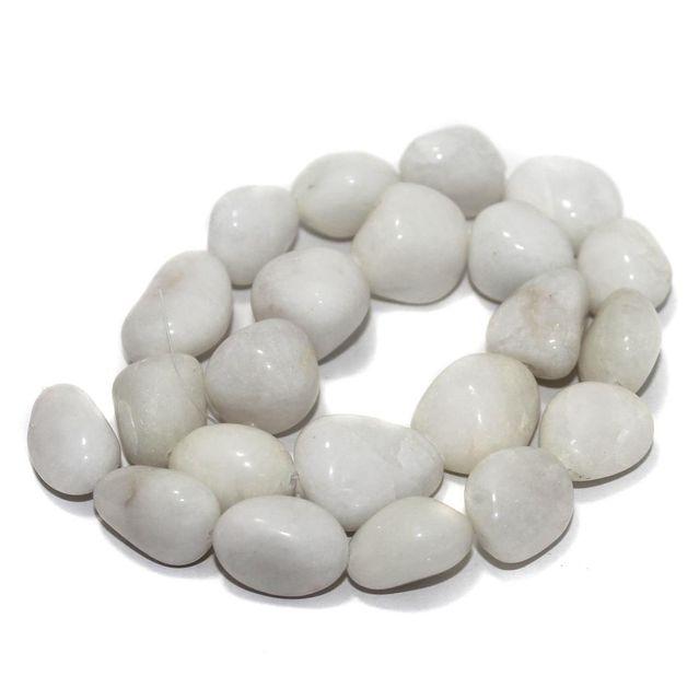 Tumbled White Kiny Stone Beads 22-17 mm