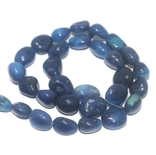 Tumbled Dark Blue Onyx Stone Beads 16-10 mm